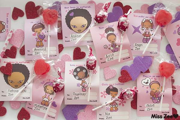 Miss Zee Valentine's Day cards for little girls of color.